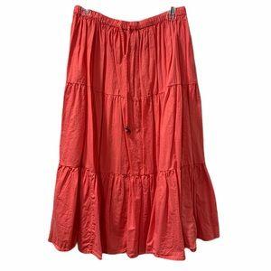 Bohemian Gypsy Peasant Skirt- Coral/Orange